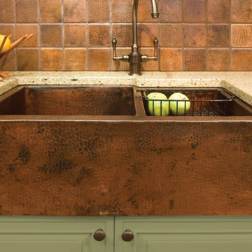 Hammered Copper Apron Front Sink / Farmhouse Style Sink