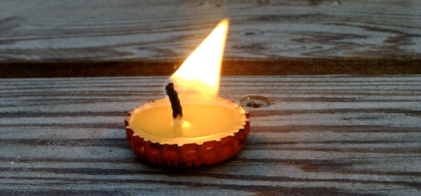 Home Made Bottle Cap Candle